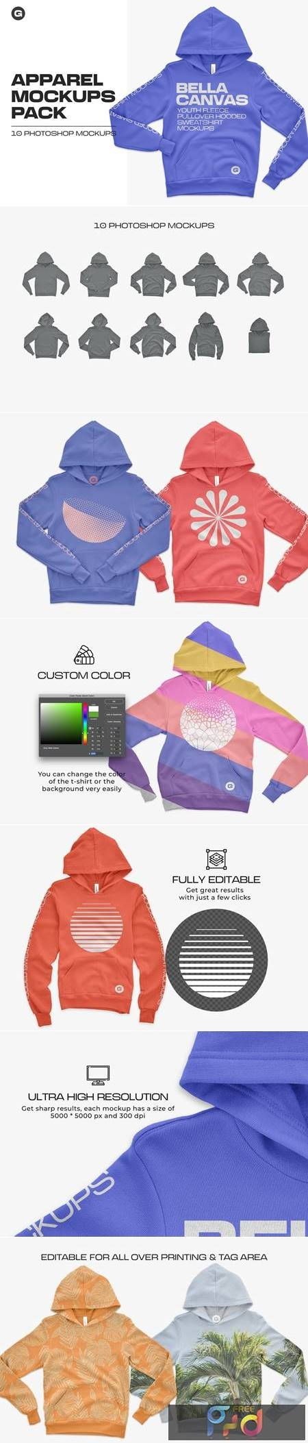 Bella Canvas Youth Pullover Mockups 5444511 1