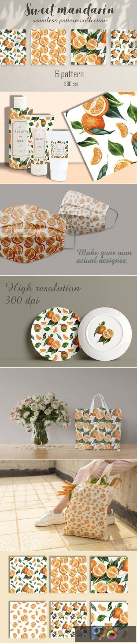 Seamless Watercolor Pattern Mandarins 6769714 1