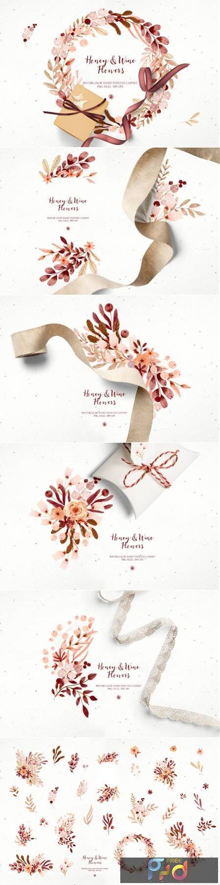 Honey and Wine Watercolor Flowers 6771228 1