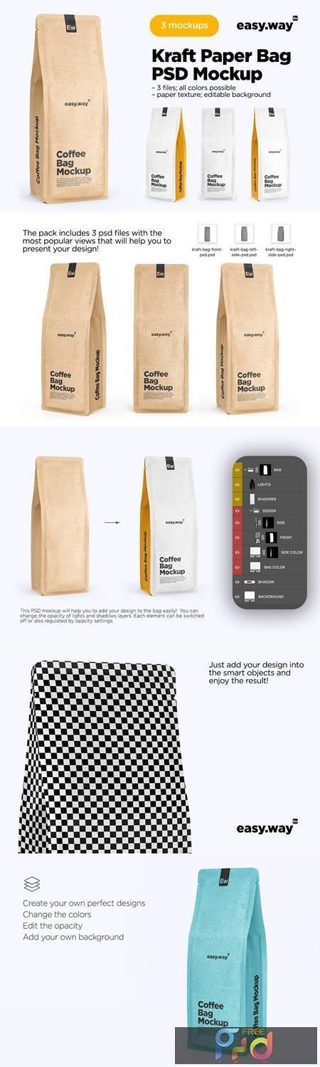 Kraft Paper Coffee Bag PSD Mockup 5634563 1