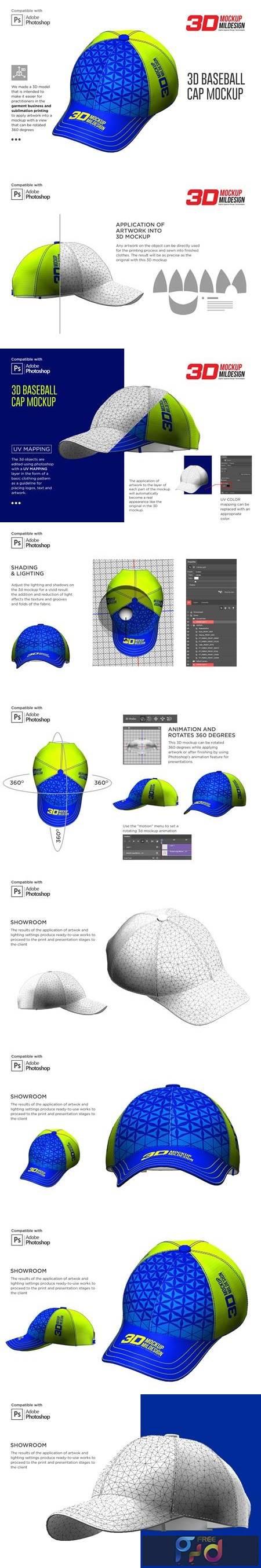 3D Baseball Cap Mockup 5363713 1