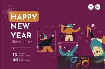 Millennial New Year Illustration E4U8AWZ 6