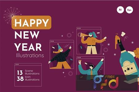 Millennial New Year Illustration E4U8AWZ 1