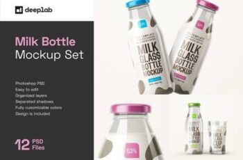 Fresh Milk Glass Bottle Mockup Set 5662647 2