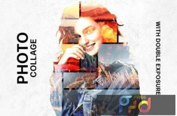 Collage Template with Double Exposure Effect HJTEDJV 5