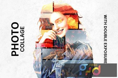 Collage Template with Double Exposure Effect HJTEDJV 1