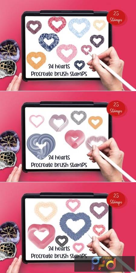 3D Hearts 25 Procreate Brush Stamps 6917478 1