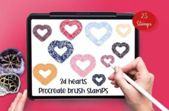 3D Hearts 25 Procreate Brush Stamps 6917478 4