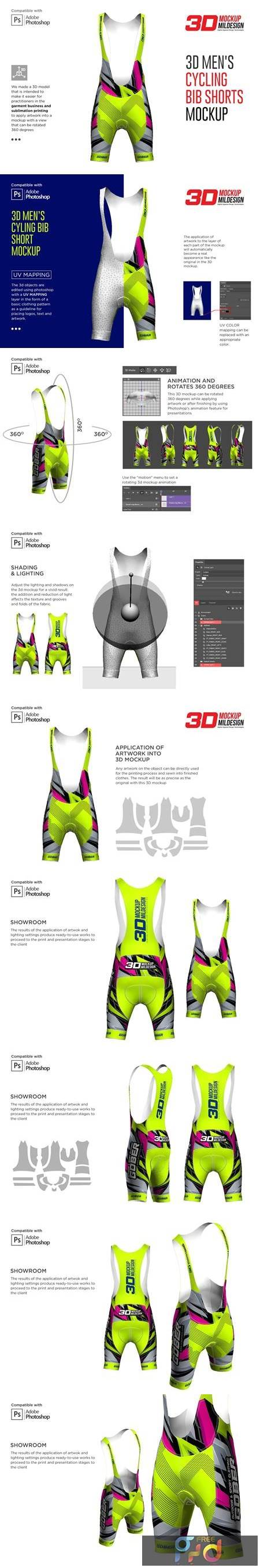 3D Mens Cycling Bib Short Mockup 5528680 1