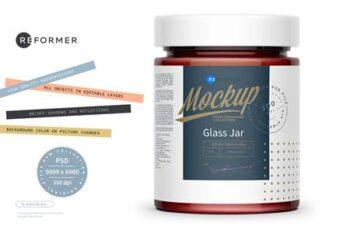Glass Jar with Strawberry Jam Mockup 5529606 2