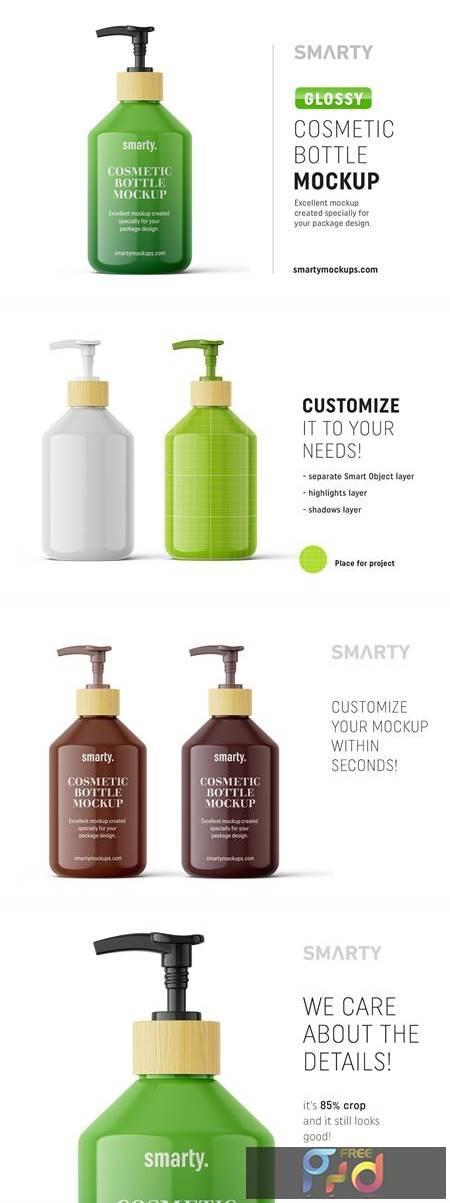 Glossy cosmetic bottle mockup 4817182 1
