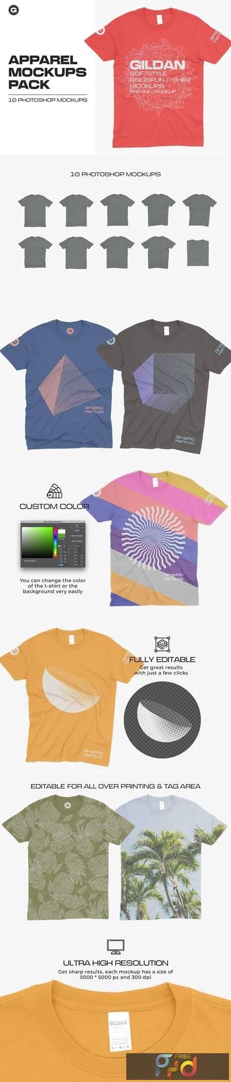 Gildan 64000 T-Shirts Mockups 5685183 1