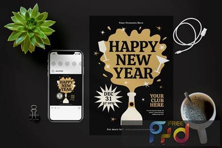 Happy New Year Flyer X4QFXPK 1