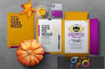 Halloween Autumn Stationery Flap Folder Mockup KRV3UTS 2