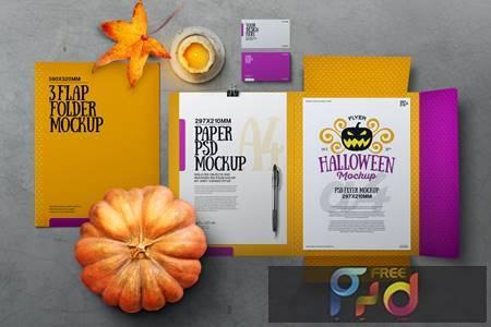 Halloween Autumn Stationery Flap Folder Mockup KRV3UTS 1
