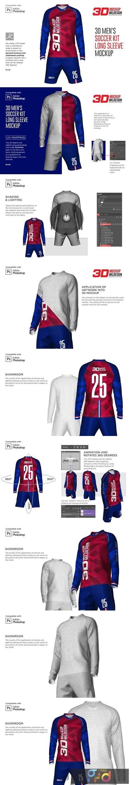 3D Mens Soccer Kit Long Sleeve 5366039 1