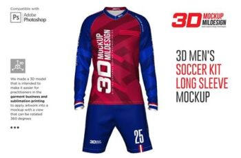 3D Mens Soccer Kit Long Sleeve 5366039 2