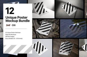 12x Paper Poster Mockup Bundle 5129210 2