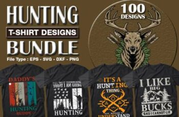 100 Hunting T-shirt Designs Bundle 7157428 2