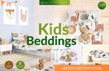 Kids Beddings Mock-ups Set on 3D 5579996 7