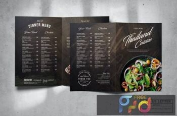 Bifold Food Menu Design A4 & US Letter K8LCKPV 13