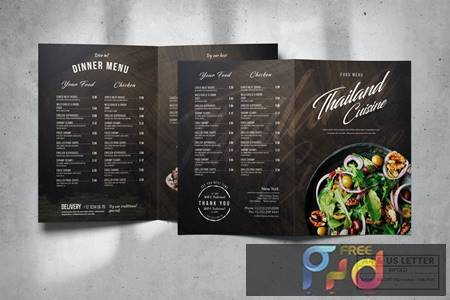 Bifold Food Menu Design A4 & US Letter K8LCKPV 1