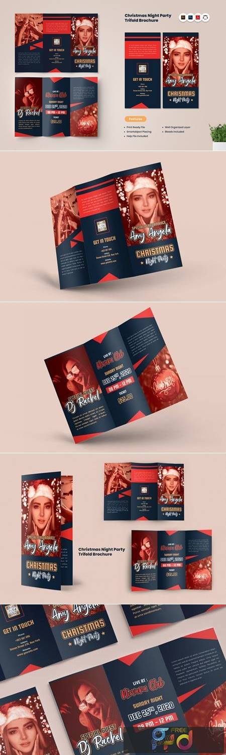 Christmas Night Party Trifold Brochure BS4RQVJ 1