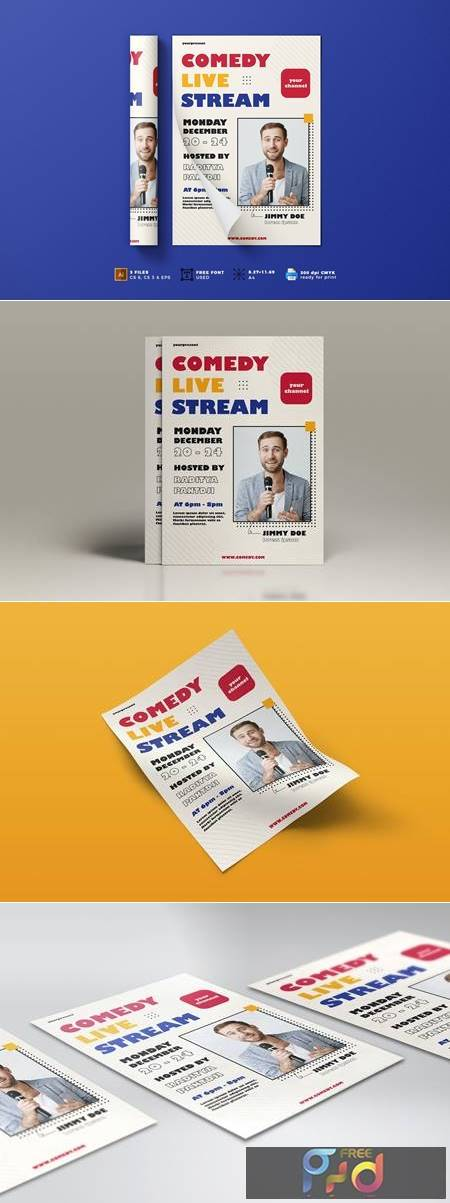 Comedy Live Stream Flyer Template Vol.01 5375G4J 1