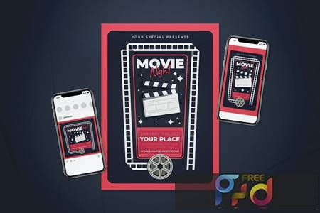 Movie Night Flyer Set EUS7X2B 1