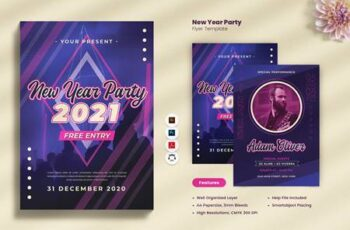 New Year Party 2021 Flyer P3S742Q 2