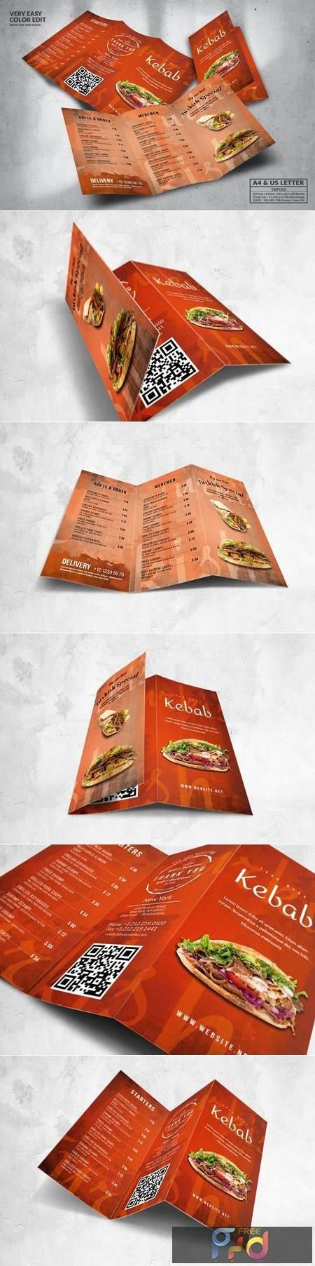 Trifold Food Menu Design A4 & US Letter U8VB5WY 1