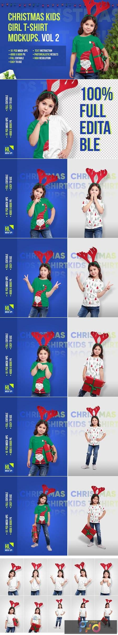 Christmas Kids Girl T-Shirt Mockups 5691730 1
