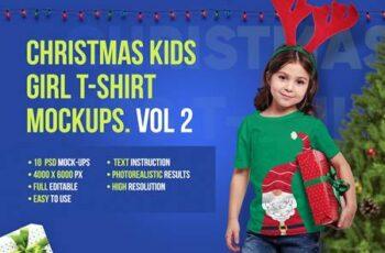 Christmas Kids Girl T-Shirt Mockups 5691730 4