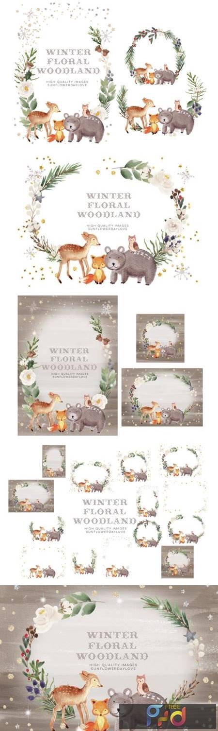 Frame Watercolor Winter Woodland, Animal 7161967 1