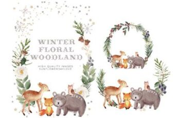 Frame Watercolor Winter Woodland, Animal 7161967 4