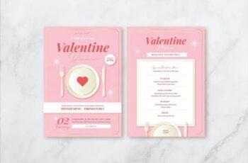 Valentines Day Dinner Flyer Set & Menu CX7L5AR 2