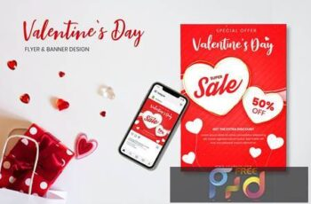 Valentines Day Flyer & Banner Design 7K7ZSFY 2