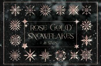 Rose Gold Snowflakes Stars Christmas 6945953 14