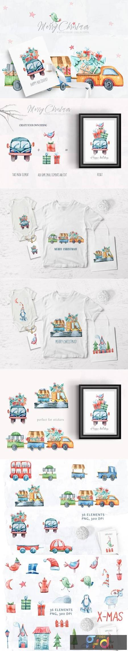 Watercolor Christmas Clipart Truck Set 6942463 1