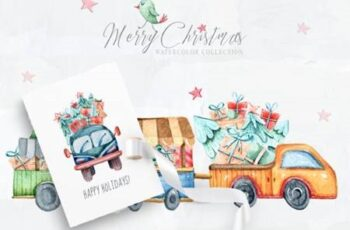 Watercolor Christmas Clipart Truck Set 6942463 13