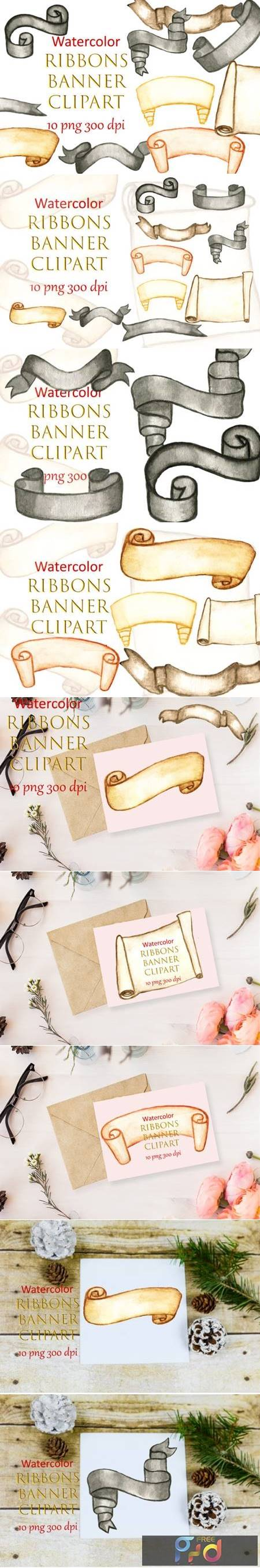 Watercolor Clipart Ribbons Banner Winter 6995952 1