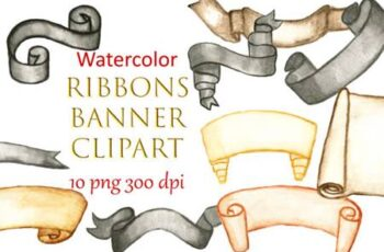 Watercolor Clipart Ribbons Banner Winter 6995952 12