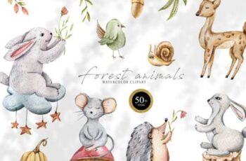 Watercolor Cute Animals Clipart 7144515 11