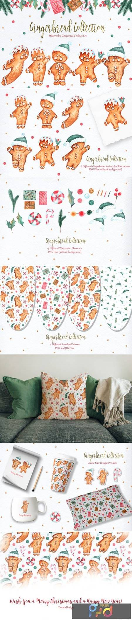 Watercolor Gingerbread Collection 7077770 1