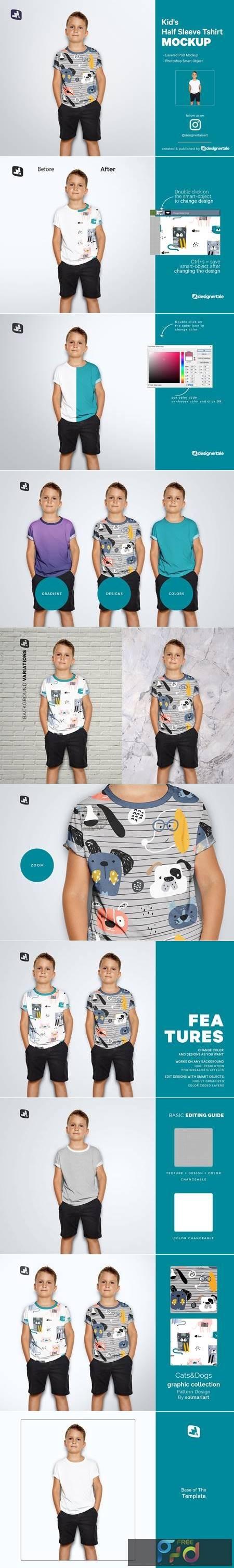 Kids Half Sleeve Tshirt Mockup 5242214 1