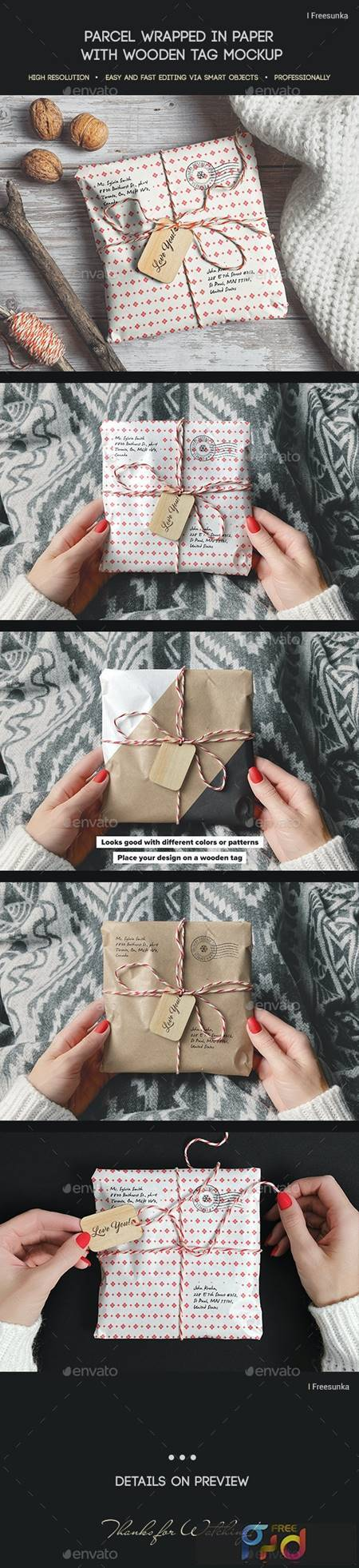 Parcel Wrapped In Paper With Wooden Tag Mockup - 29385413 1
