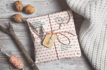 Parcel Wrapped In Paper With Wooden Tag Mockup - 29385413 7