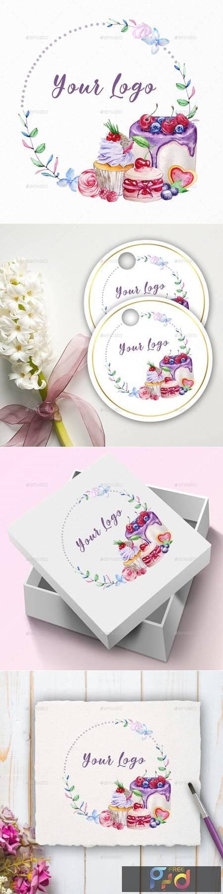 Premade Logo Cupcake, Watercolor Logo - 29436334 1