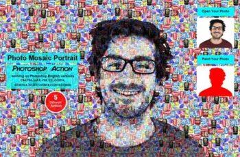 Photo Mosaic Portrait PS Action 5577465 2
