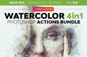 Watercolor 4in1 Photoshop Actions Bundle 29753428 4